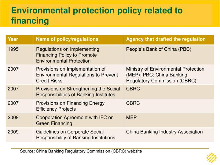 Environmental protection policy related to financing
