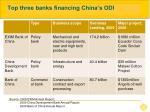 top three banks financing china s odi