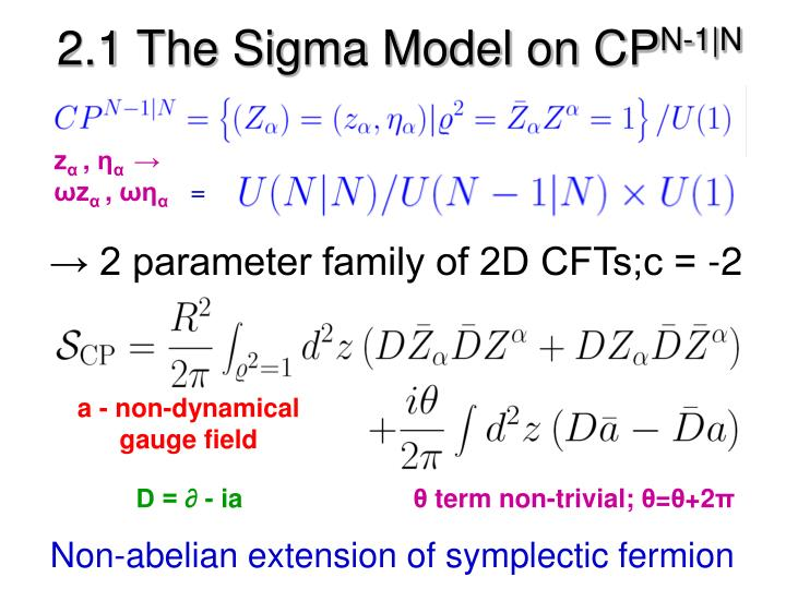 2.1 The Sigma Model on CP