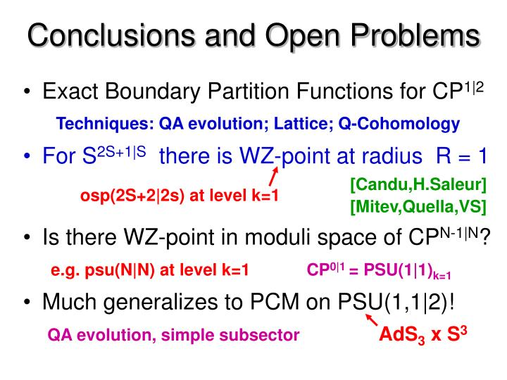 Conclusions and Open Problems