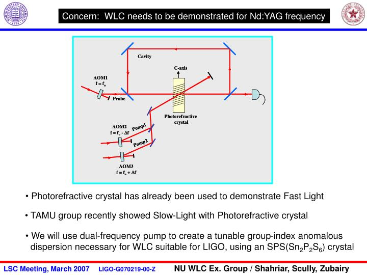 Concern:  WLC needs to be demonstrated for Nd:YAG frequency