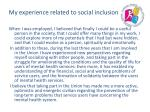 my experience related to social inclusion1
