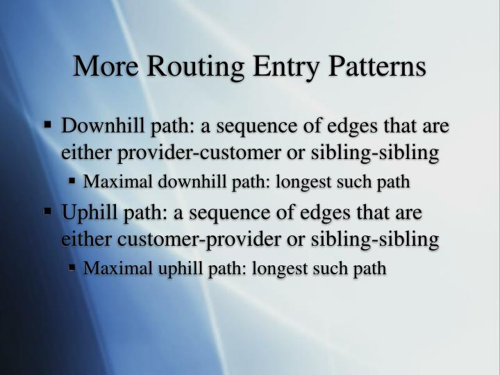 More Routing Entry Patterns