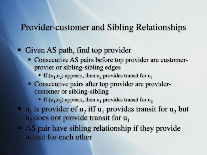 Provider-customer and Sibling Relationships