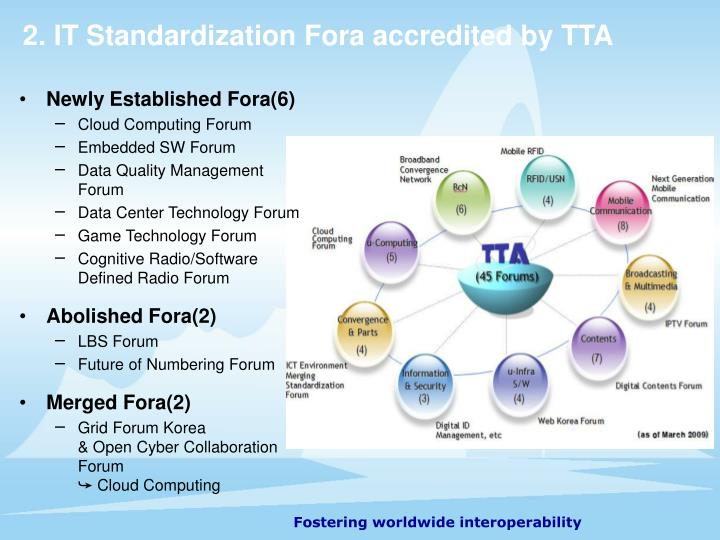 2. IT Standardization Fora accredited by TTA