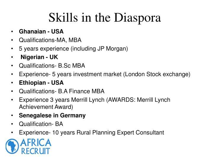 Skills in the Diaspora