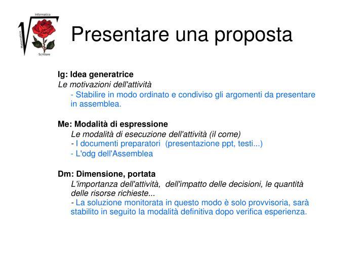 Presentare una proposta