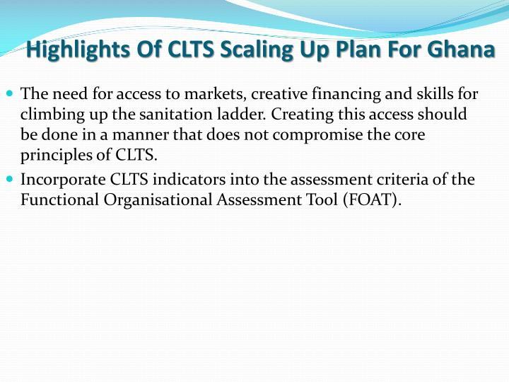 Highlights Of CLTS Scaling Up Plan For Ghana