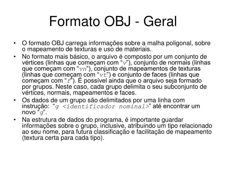 Formato OBJ - Geral