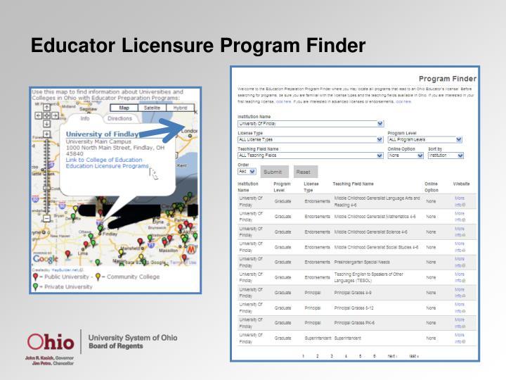 Educator Licensure Program Finder
