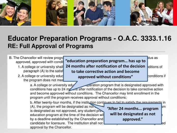 Educator Preparation Programs - O.A.C. 3333.1.16