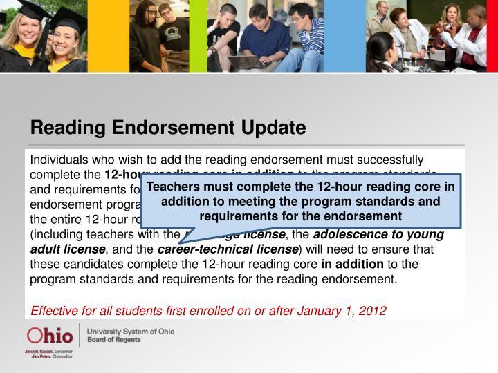 Reading Endorsement Update