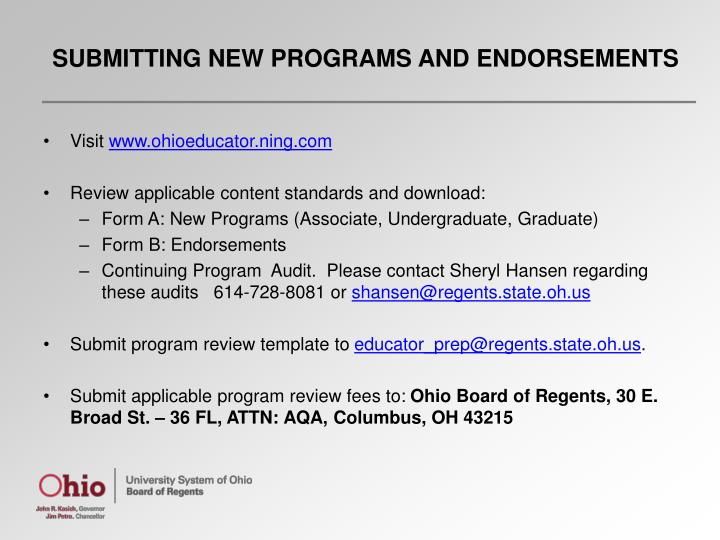 SUBMITTING NEW PROGRAMS AND ENDORSEMENTS