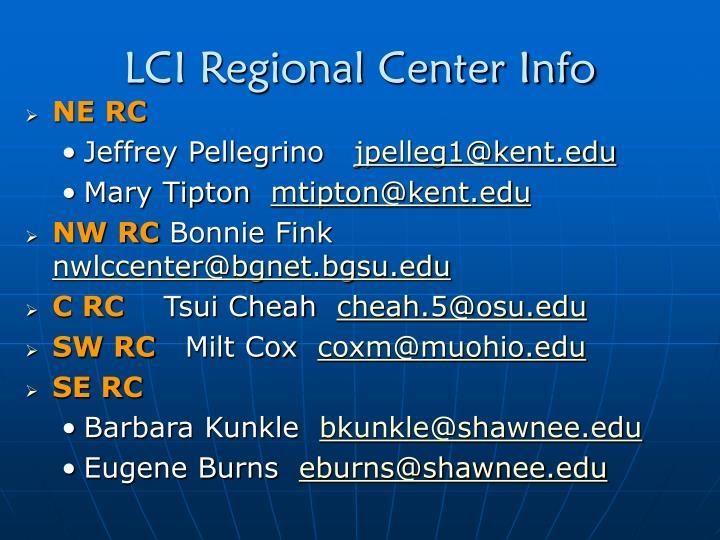 LCI Regional Center Info