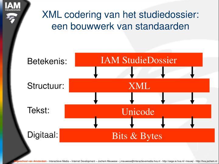 XML codering van het studiedossier: