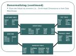 denormalizing continued stars are linked via common i e conformed dimensions to form data warehouse