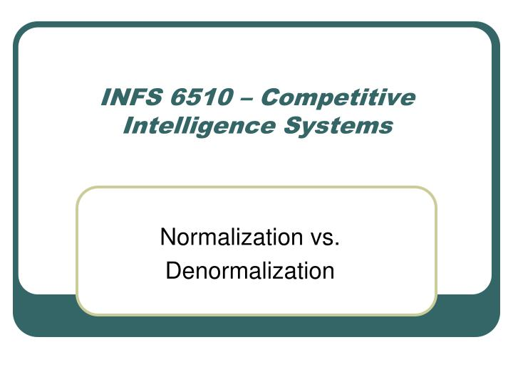 INFS 6510 – Competitive Intelligence Systems
