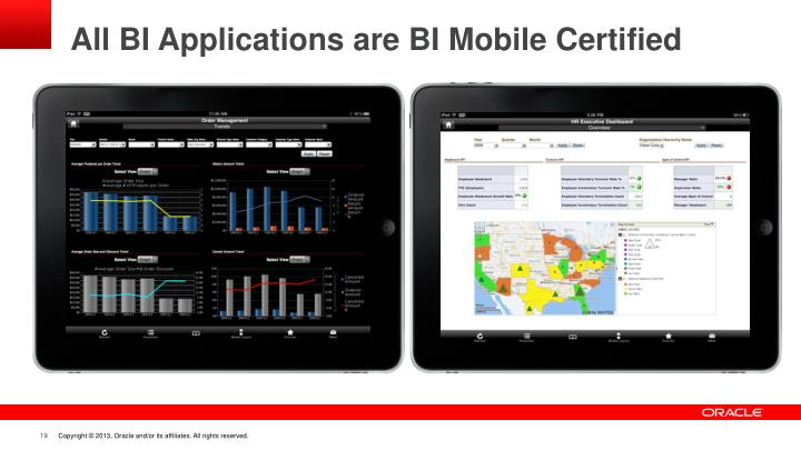 All BI Applications are BI Mobile Certified