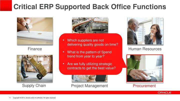 Critical ERP Supported Back Office Functions