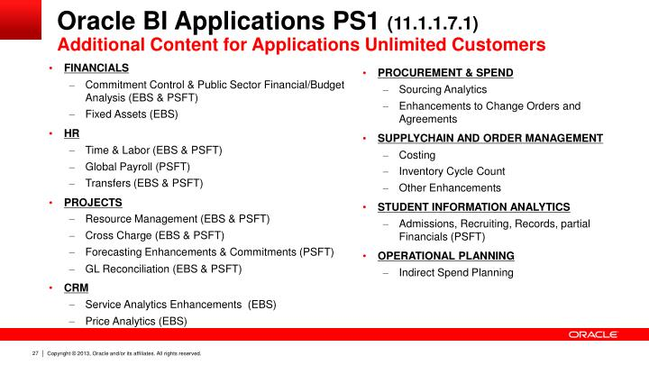 Oracle BI Applications PS1