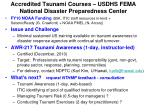 accredited tsunami courses usdhs fema national disaster preparedness center