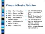 changes in reading objectives