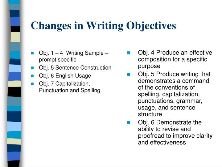 Obj. 1 – 4  Writing Sample – prompt specific