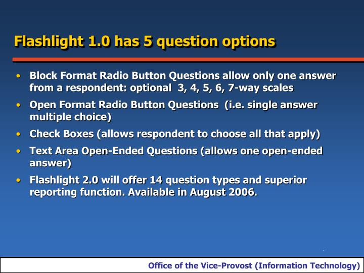 Flashlight 1.0 has 5 question options