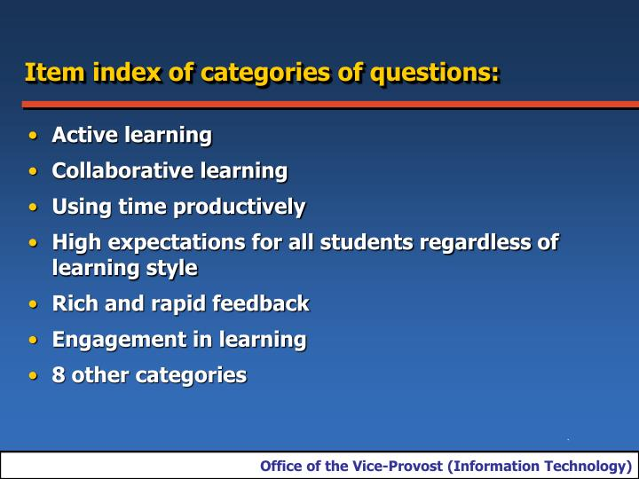 Item index of categories of questions:
