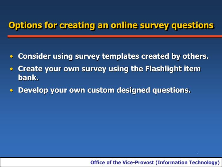 Options for creating an online survey questions