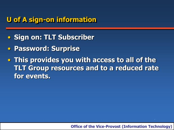 U of A sign-on information
