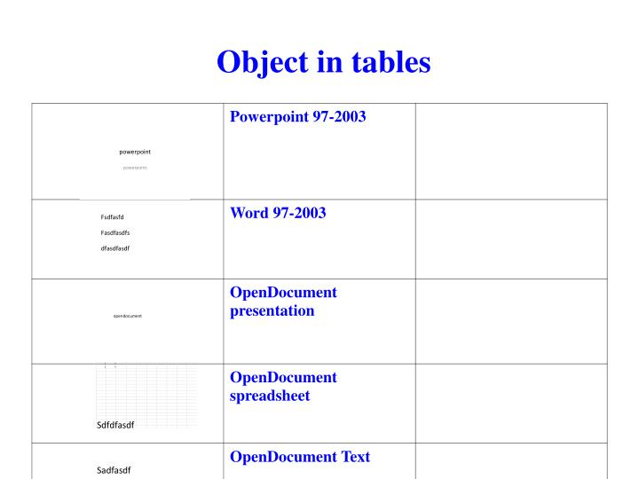 Object in tables