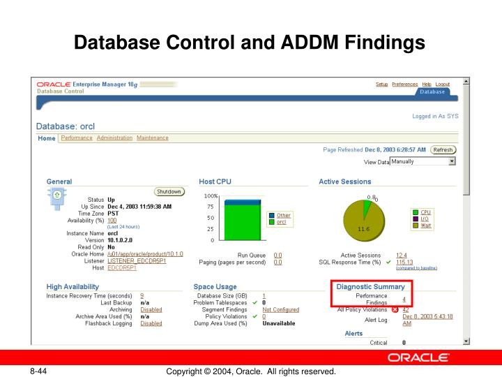 Database Control and ADDM Findings