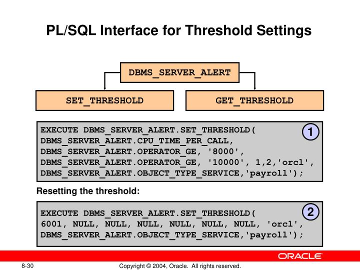 PL/SQL Interface for Threshold Settings