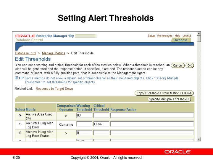 Setting Alert Thresholds