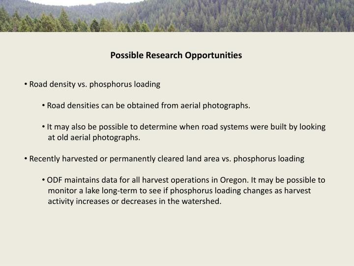 Possible Research Opportunities