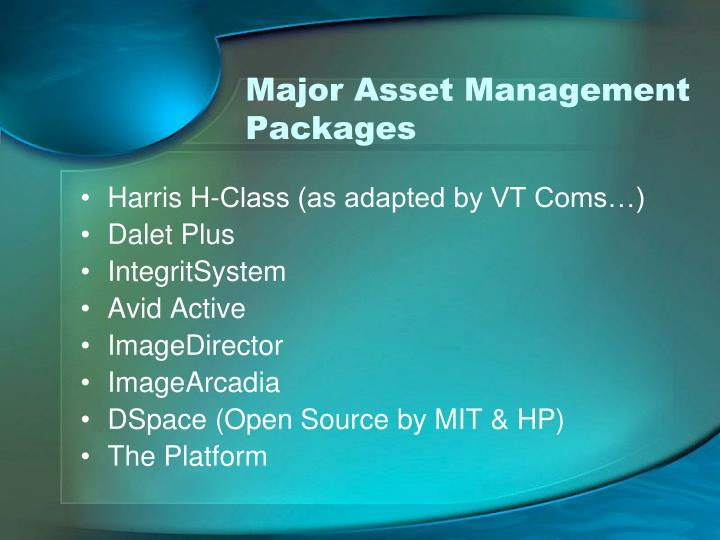 Major Asset Management Packages