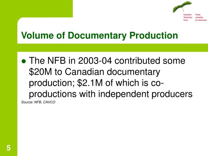 Volume of Documentary Production