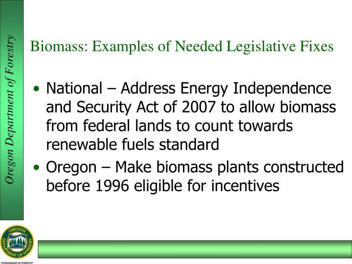 Biomass: Examples of Needed Legislative Fixes
