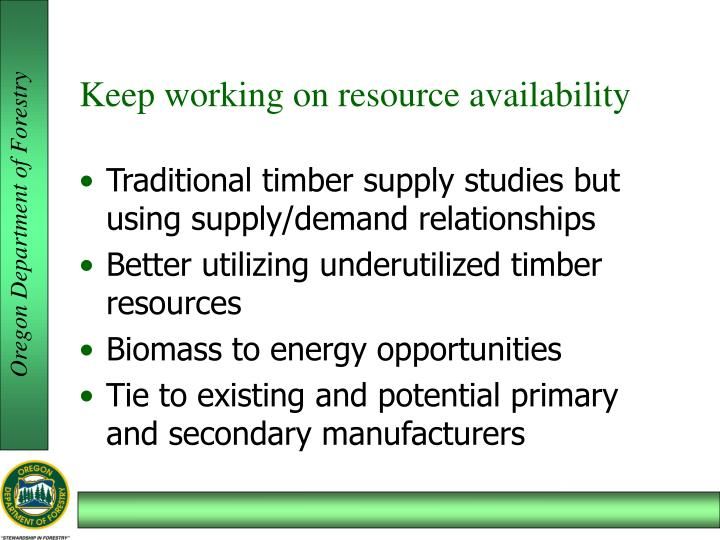 Keep working on resource availability