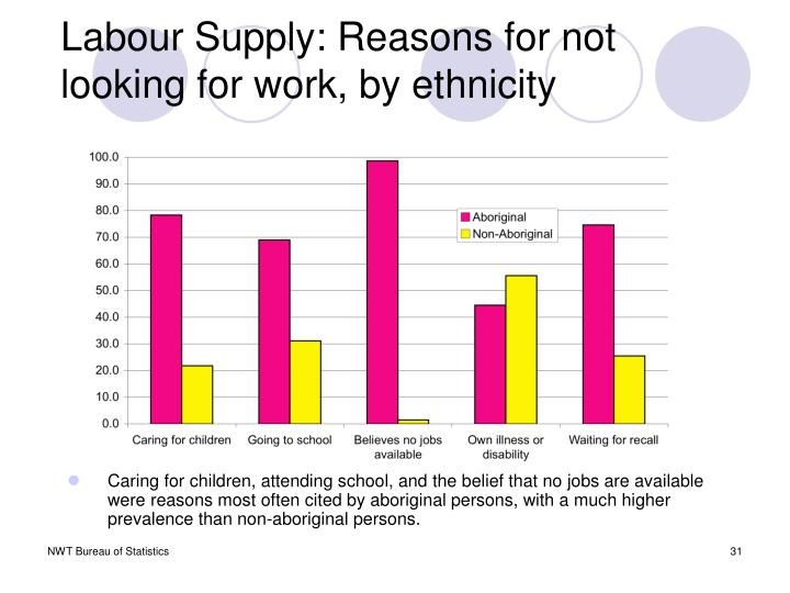 Labour Supply: Reasons for not looking for work, by ethnicity