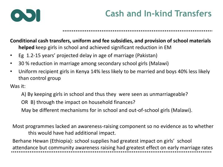 Cash and In-kind Transfers