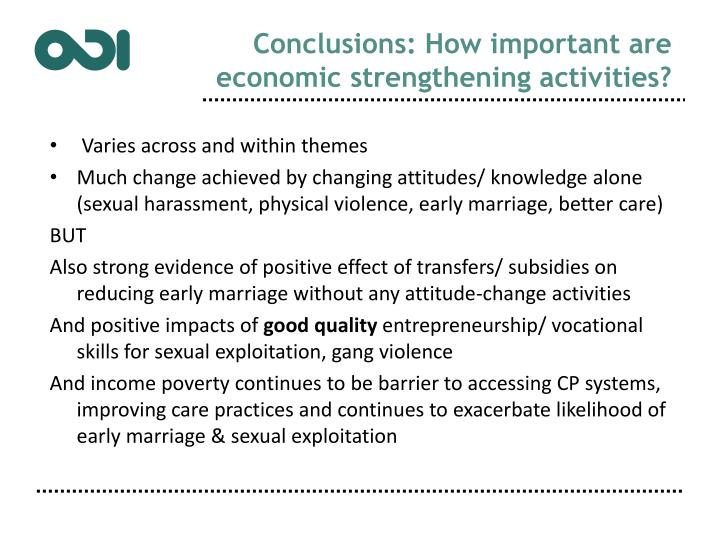 Conclusions: How important are economic strengthening activities?