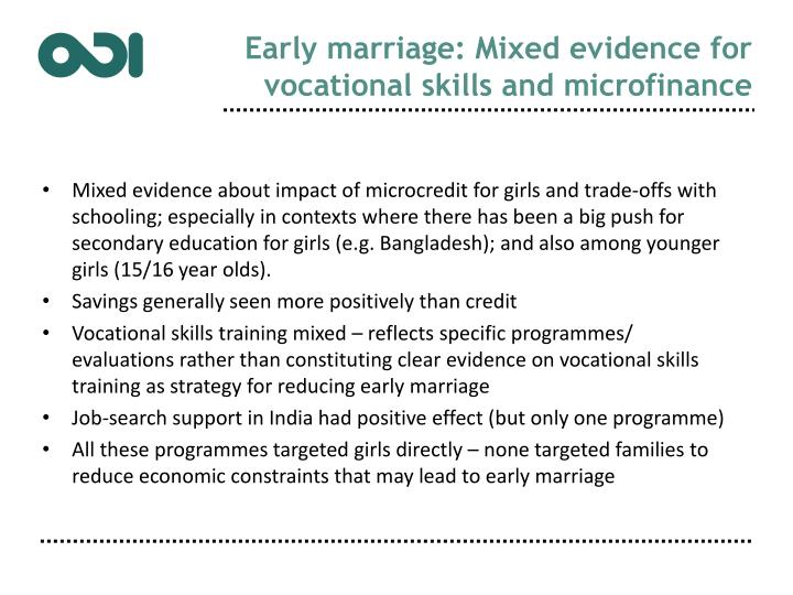 Early marriage: Mixed evidence for vocational skills and microfinance