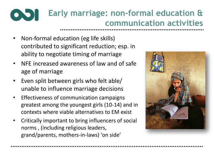 Early marriage: non-formal education & communication activities