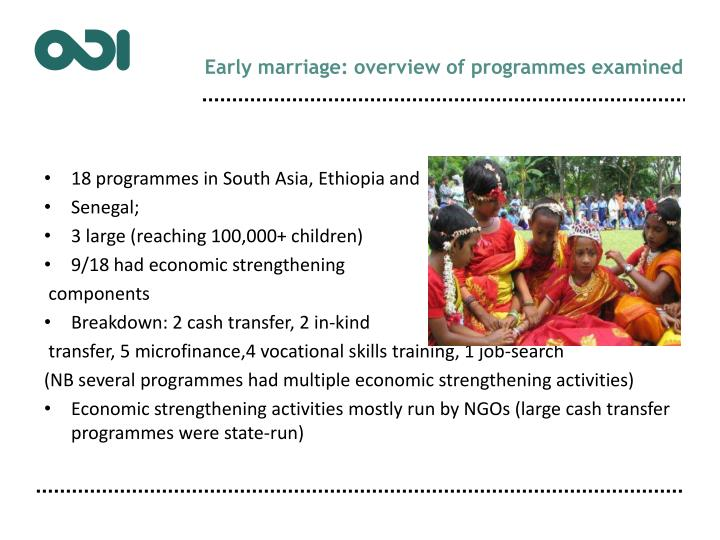 Early marriage: overview of programmes examined