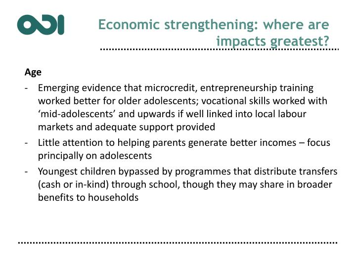 Economic strengthening: where are impacts greatest?