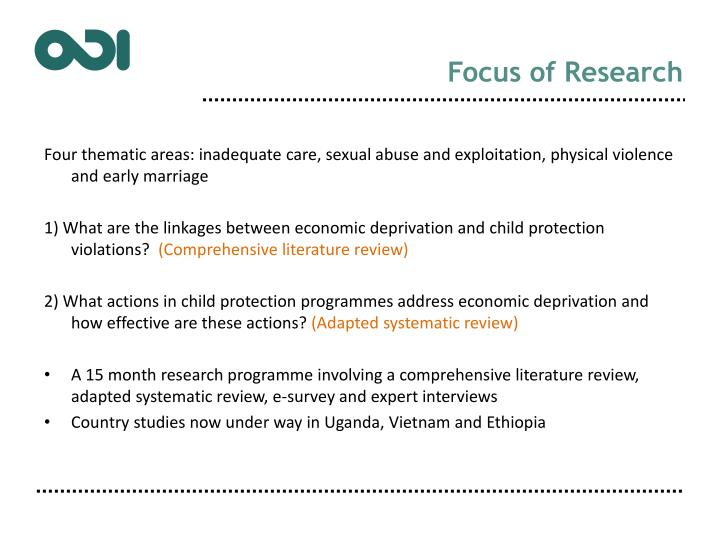 Focus of Research