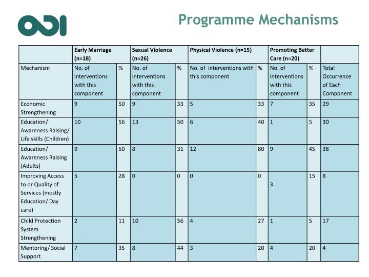 Programme Mechanisms