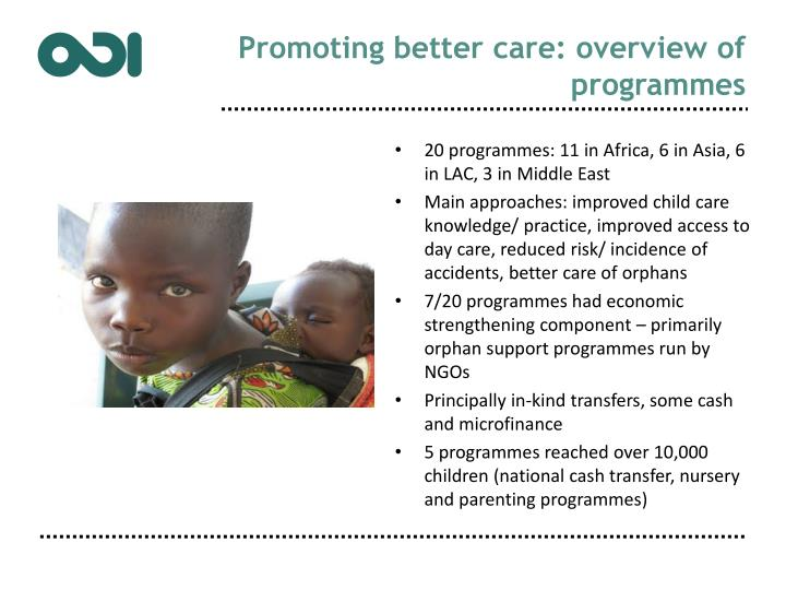 Promoting better care: overview of programmes